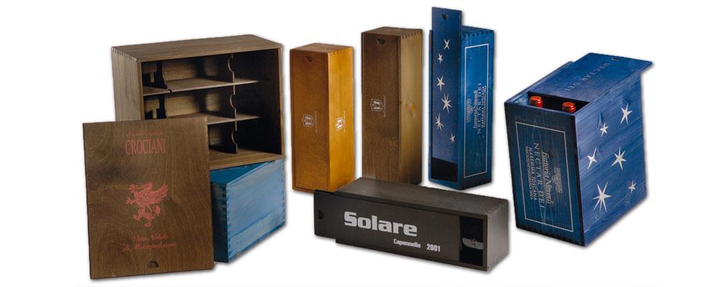 cassette in legno per vino bagno di colore
