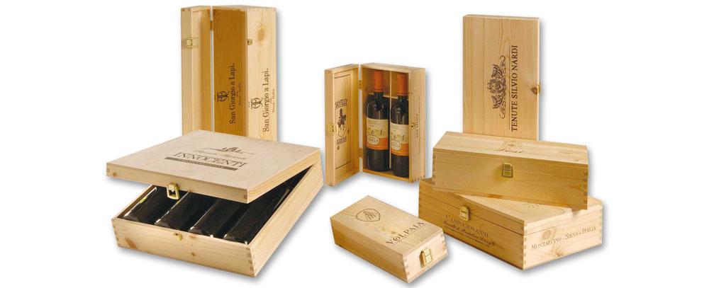 cassette in legno per vino coperchio incernierato