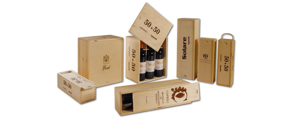 cassette in legno per vino coperchio a scorrere